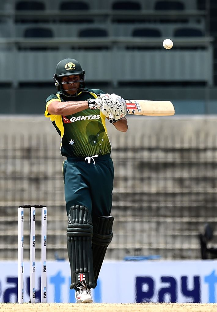 Australia `A` team player Usman Khawaja in action during India A Team Triangular Series match between South Africa `A` and Australia `A` at MAC Stadium in Chennai, on Aug 5, 2015.