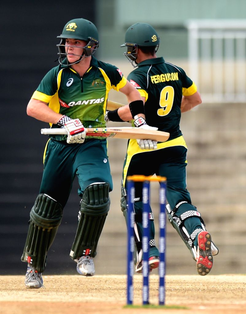 Australia `A` team players in action during India A Team Triangular Series match between India `A` and Australia `A` at MAC Stadium in Chennai, on Aug 10, 2015.