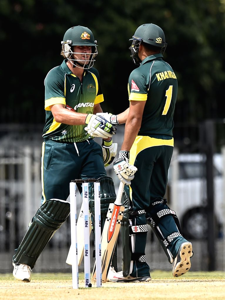 Australia `A` team players Usman Khawaja and Joe Burns in action during India A Team Triangular Series match between South Africa `A` and Australia `A` at MAC Stadium in Chennai, on Aug 5, ...