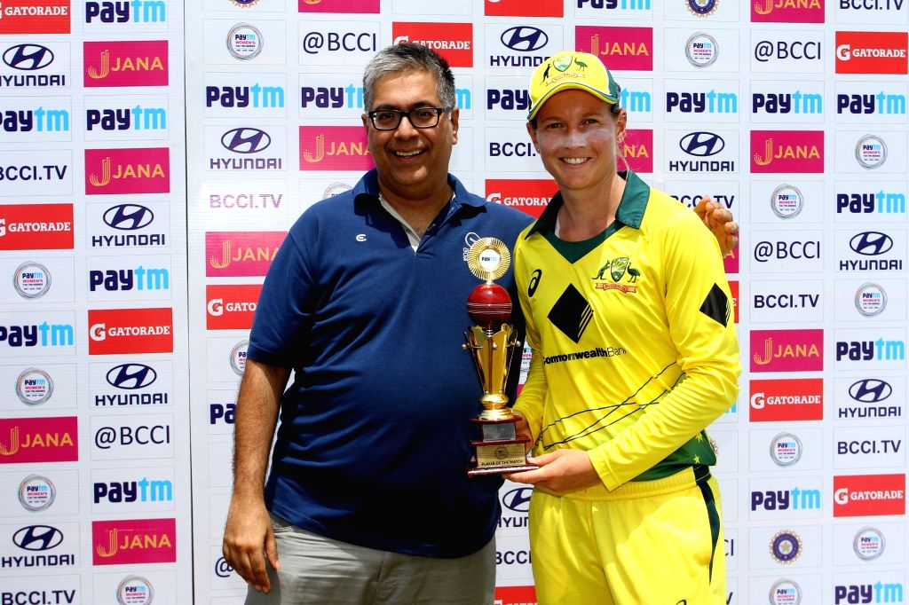 Australia captain Meg Lanning receives the player of the match during post match presentation ceremony after winning the final of the women's tri-series between Australia and England at the ... - Meg Lanning