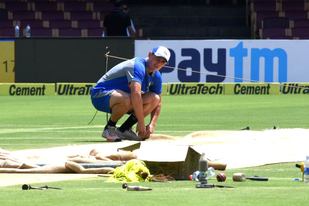 Australia cricketer Steve O'Keefe during a practice session ahead of the second test match between India and Australia in Bengaluru on March 3, 2017.