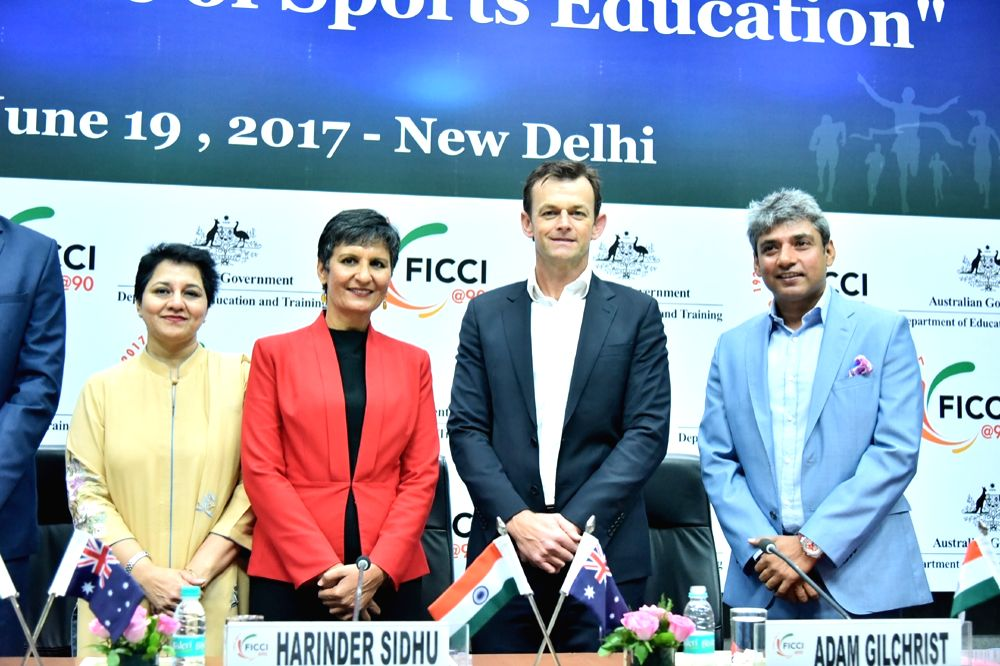 Australia-India Education Ambassador and Former Australia cricketer Adam Gilchrist, former India cricketer Ajay Jadeja, Australia's High Commissioner to India Harinder Sidhu and FICCI ... - Ajay Jadeja and Ambika Sharma