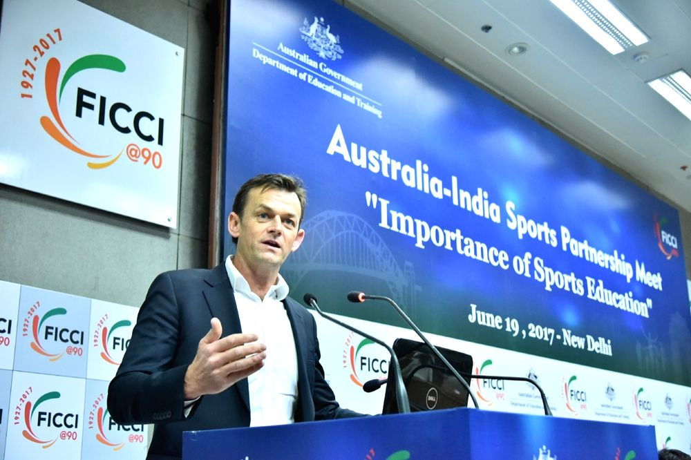 "Australia-India Education Ambassador and Former Australia cricketer Adam Gilchrist addresses during ""Australia-India Sports Partnership Meet"" in New Delhi on June 19, 2017."