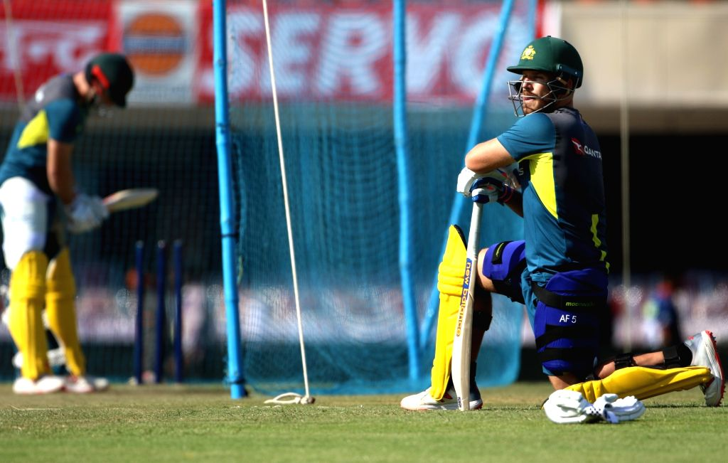 Australia's Aaron Finch during a practice session ahead of the third ODI match against India, in Ranchi, on March 7, 2019.