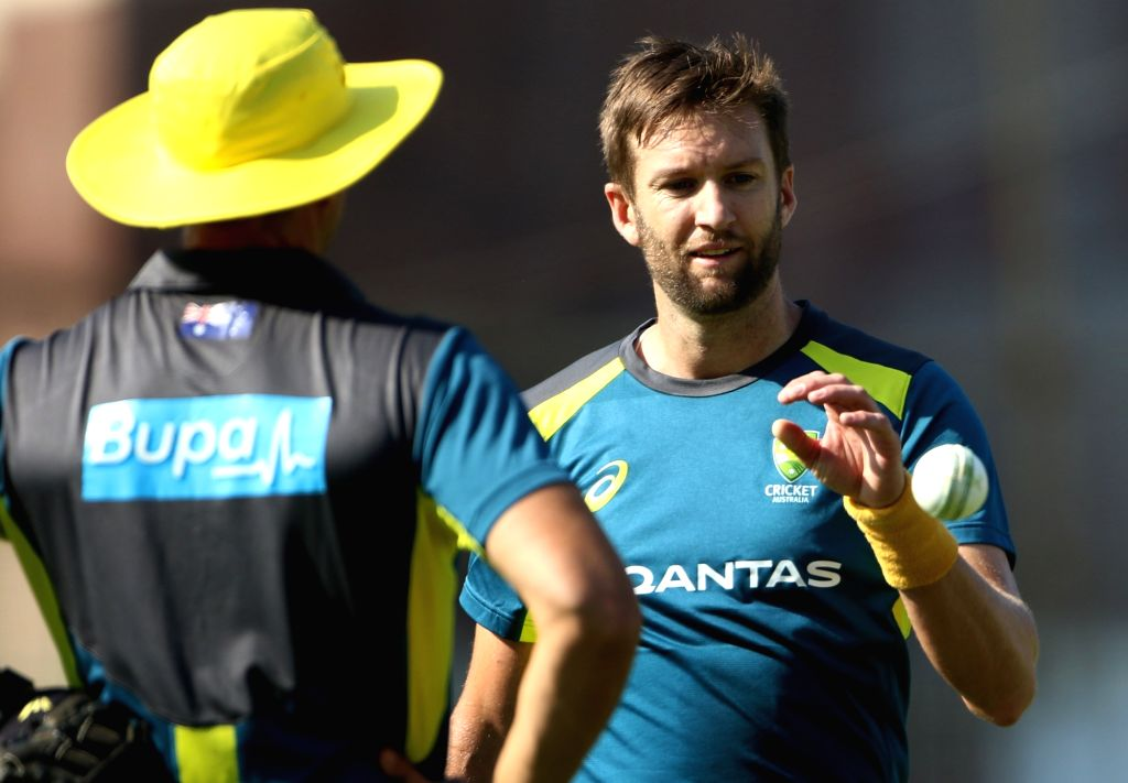 Australia's Andrew Tye during a practice session ahead of the third ODI match against India, in Ranchi, on March 7, 2019.