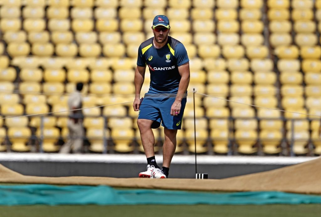 Australia's Aron Finch during a practice session ahead of the second ODI match against India, at Vidarbha Cricket Association (VCA) Stadium, in Nagpur, on March 4, 2019.