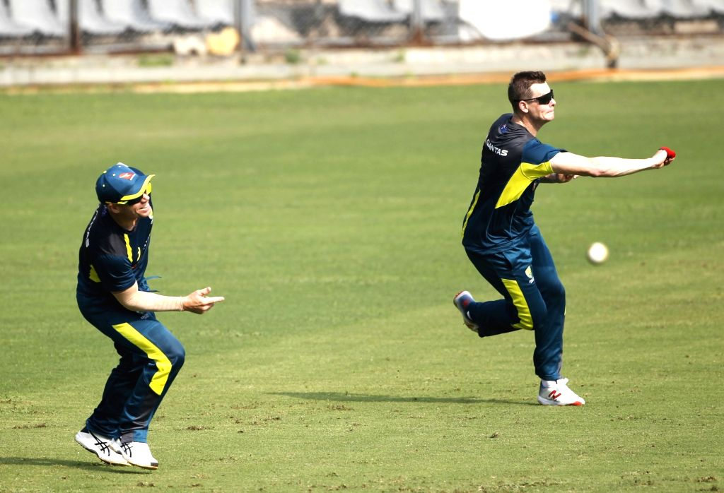 Australia's David Warner and Steve Smith during a practice session ahead of their first ODI match against India in Mumbai on Jan 12, 2020.