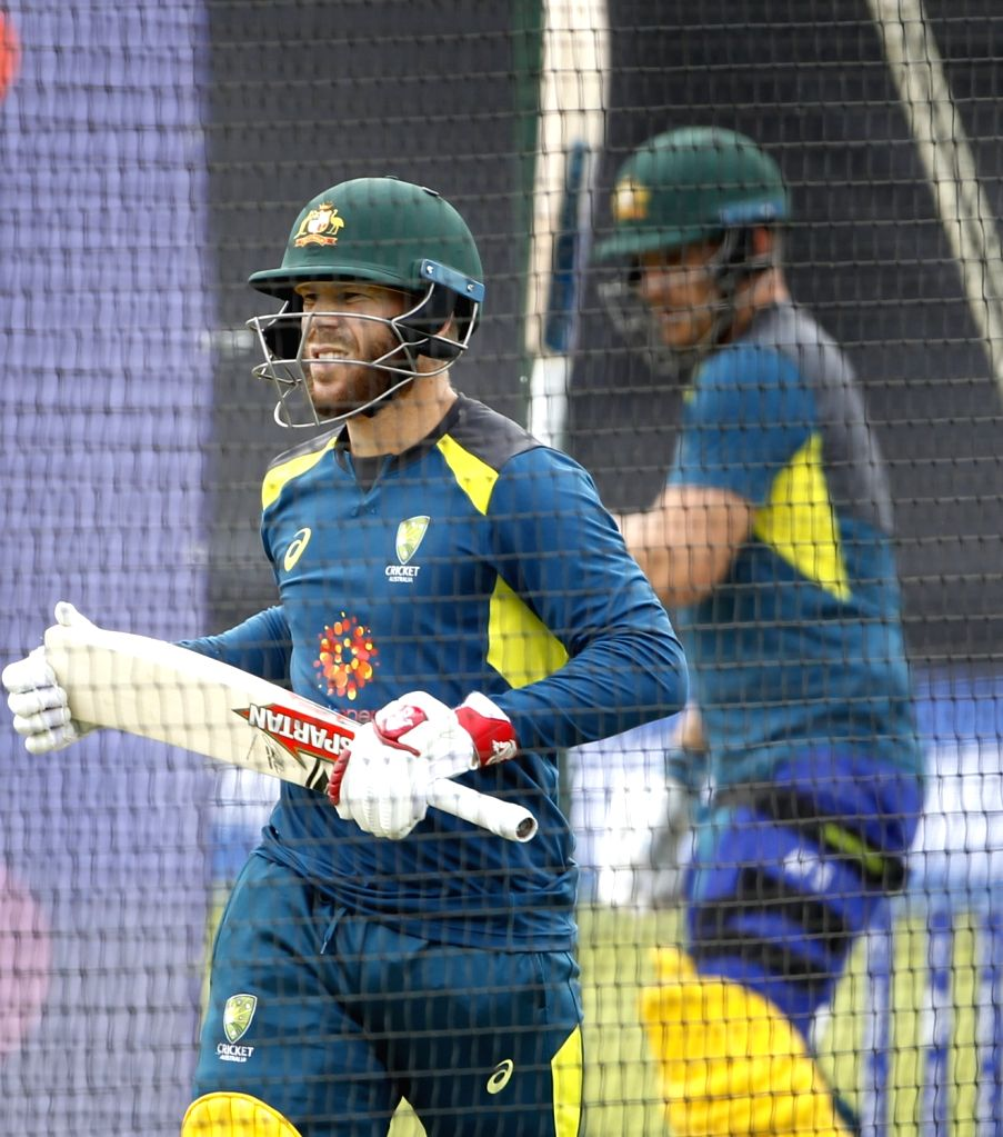 Australia's David Warner during a practice session ahead of their 2019 ICC Cricket World Cup match against India, at the Oval in London on June 8, 2019.