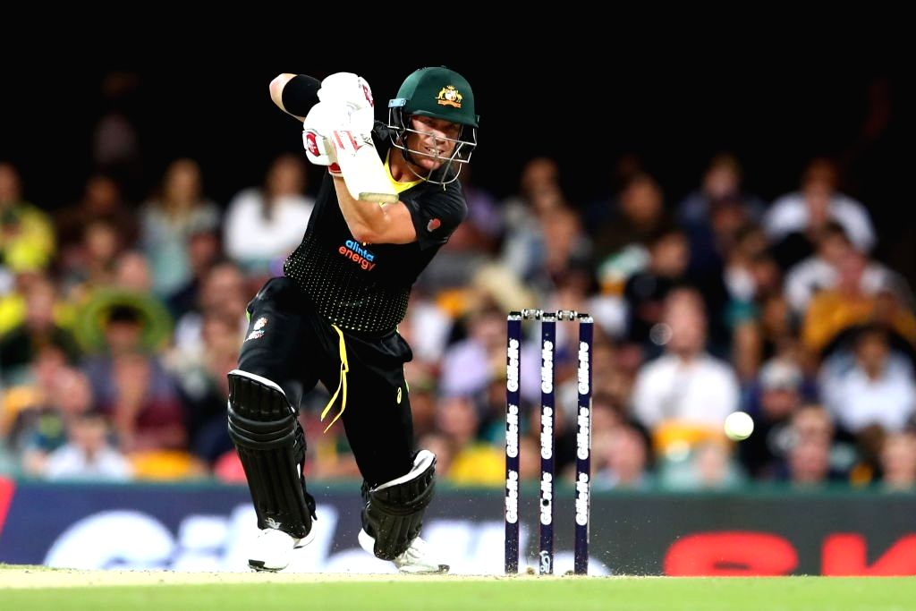 Australia's David Warner in action during 2nd T20I match between Sri Lanka and Australia at Brisbane Cricket Ground in Woolloongabba, Brisbane on Oct 30, 2019.