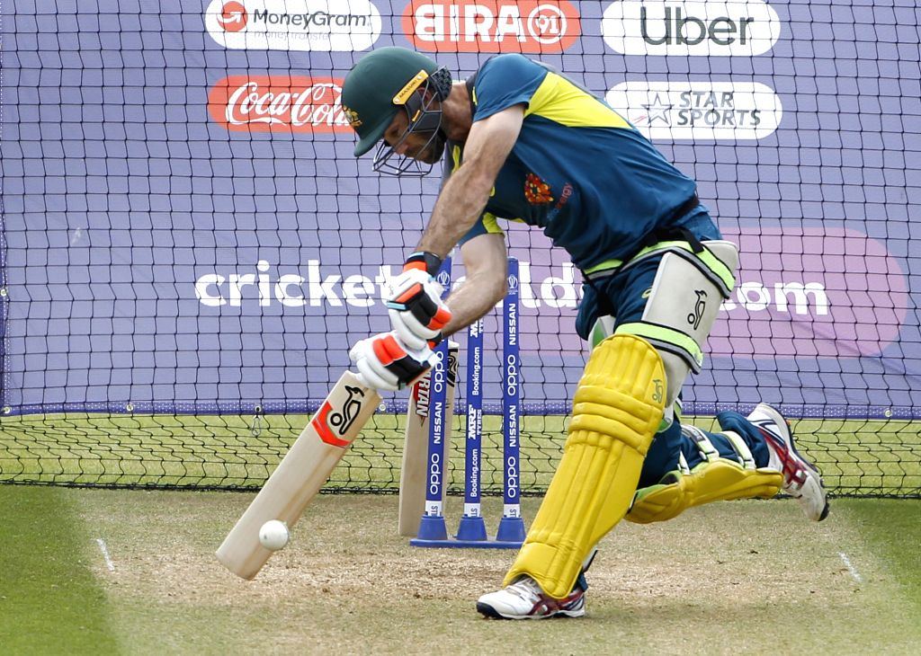 Australia's Glenn Maxwell during a practice session ahead of their 2019 ICC Cricket World Cup match against India, at the Oval in London on June 8, 2019.