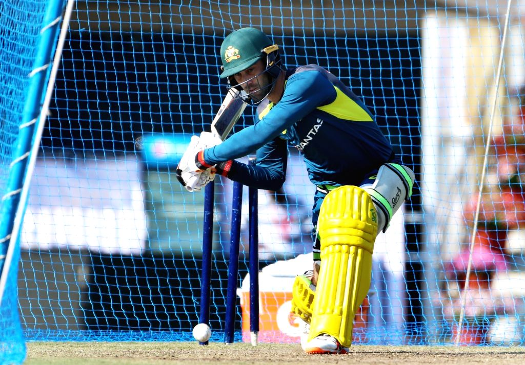 Australia's Glenn Maxwell in action during a practice session ahead of the third ODI match against India, in Ranchi, on March 7, 2019.