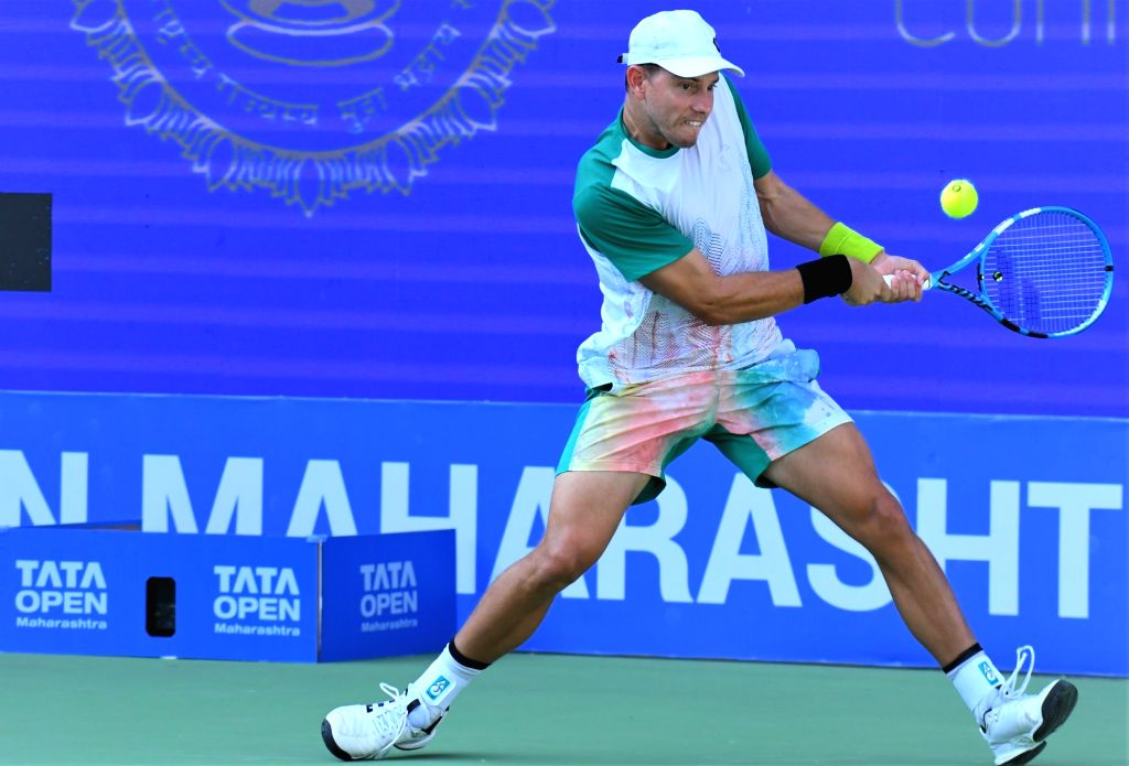 Australia's James Duckworth in action during the third edition of Tata Open Maharashtra at Mhalunge Balewadi Stadium in Pune on Feb. 6, 2019.