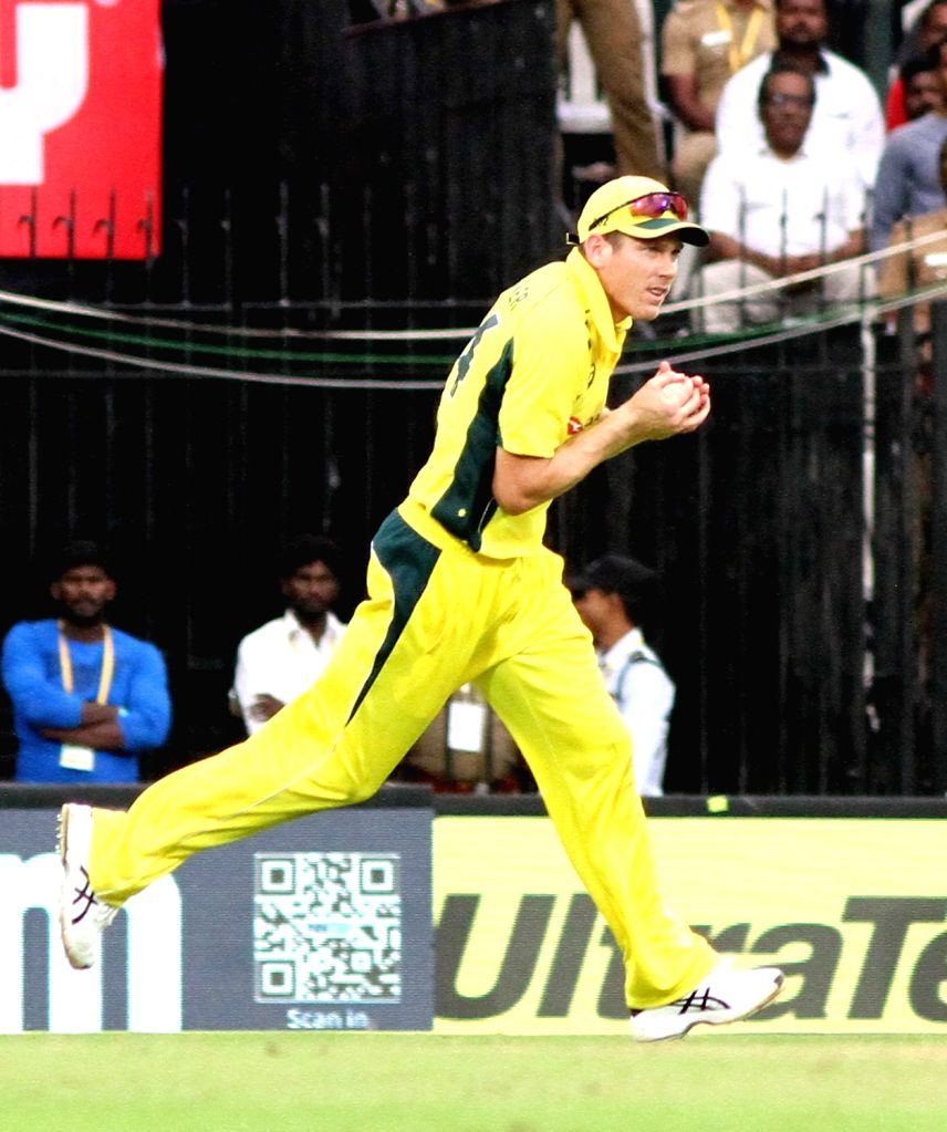 Australia's James Faulkner takes the catch of Hardik Pandya during the first ODI cricket match between India and Australia at MA Chidambaram Stadium in Chennai on Sept 17, 2017.