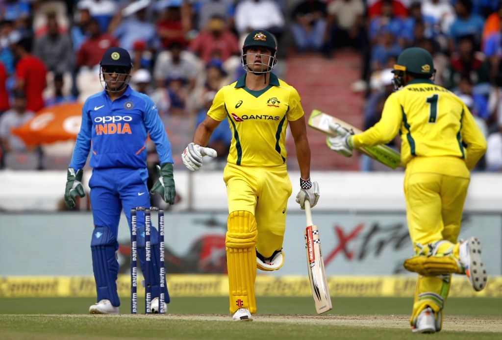 Australia's Marcus Stoinis in action during the first ODI match between India and Australia at Rajiv Gandhi International Stadium in Hyderabad on March 2, 2019.