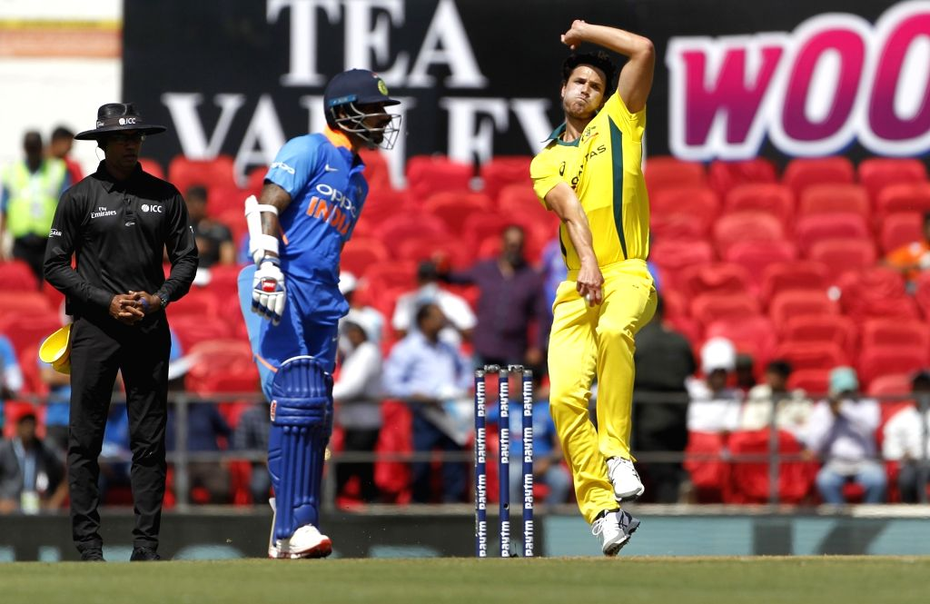 Australia's Nathan Coulter-Nile in action during the second ODI match against India at Vidarbha Cricket Association (VCA) Stadium, in Nagpur, on March 5, 2019.