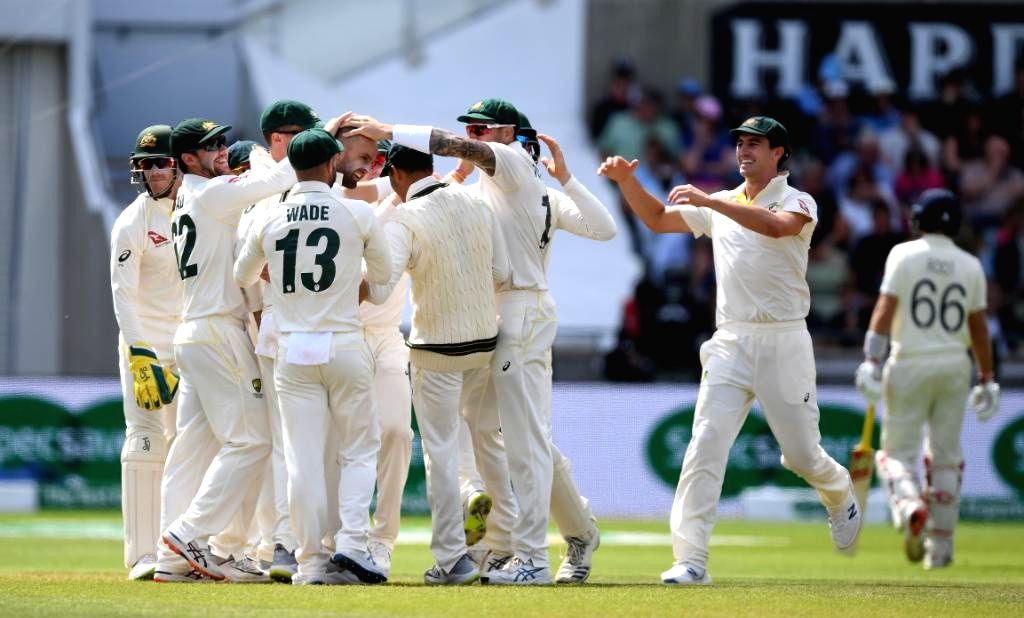 Australia's Nathan Lyon celebrates fall of a wicket on Day 5 of the first match of ICC World Test Championship between Australia and England at Edgbaston Stadium in Birmingham, England on ...