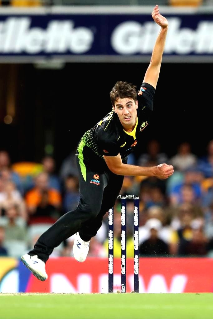 Australia's Pat Cummins in action during 2nd T20I match between Sri Lanka and Australia at Brisbane Cricket Ground in Woolloongabba, Brisbane on Oct 30, 2019.