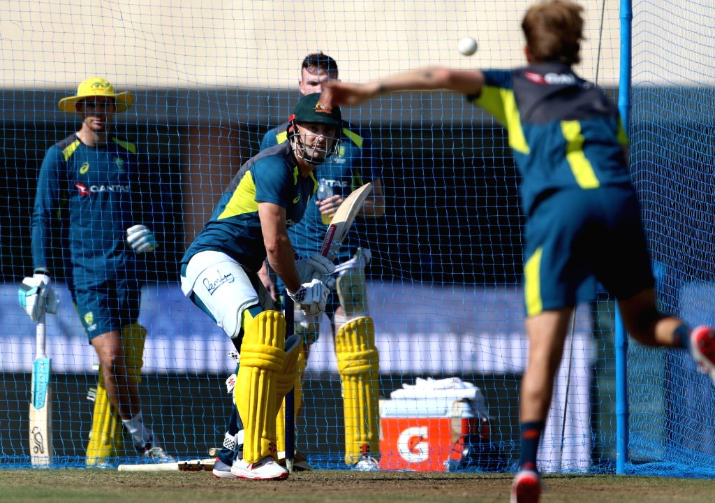 Australia's Shaun Marsh in action during a practice session ahead of the third ODI match against India, in Ranchi, on March 7, 2019.