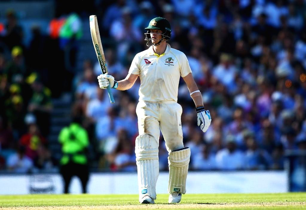 Australia's Steve Smith celebrates his half century on Day 2 of the 5th Test match between England and Australia at Kennington Oval in London on Sep 13, 2019.