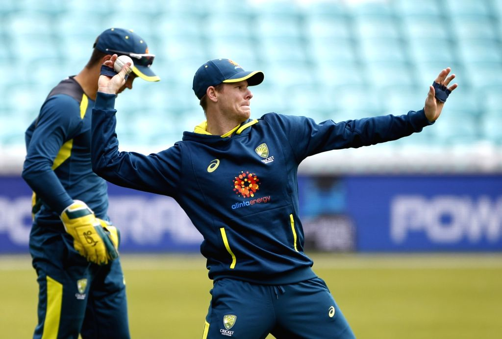 Australia's Steve Smith during a practice session ahead of their 2019 ICC Cricket World Cup match against India, at the Oval in London on June 8, 2019.