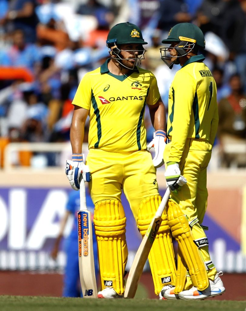 Australia's Usman Khawaja and Aron Finch during the third ODI match between India and Australia at JSCA International Stadium Complex, in Ranchi, on March 8, 2019.
