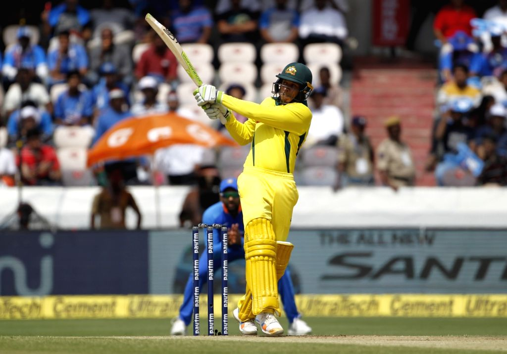 Australia's Usman Khawaja in action during the first ODI match between India and Australia at Rajiv Gandhi International Stadium in Hyderabad on March 2, 2019.