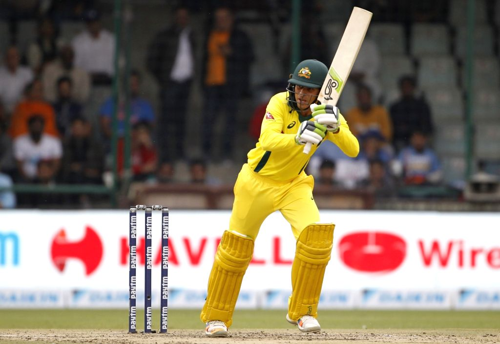 Australia's Usman Khawaja in action during the fifth ODI match between India and Australia at Feroz Shah Kotla Stadium in New Delhi, on March 13, 2019.