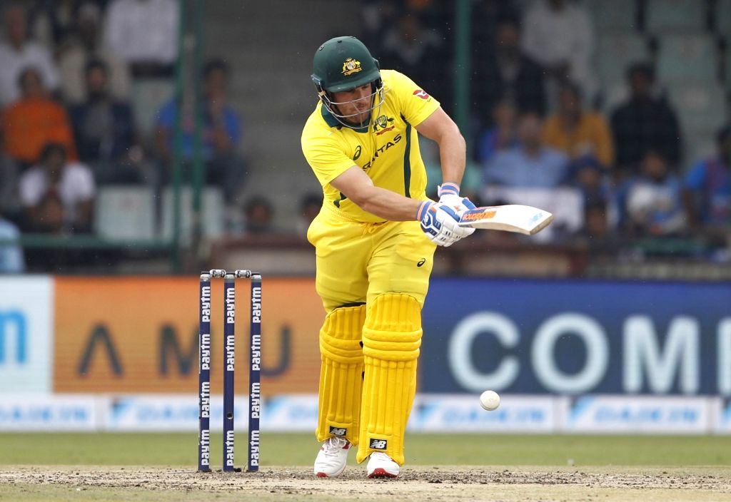 Australian captain Aaron Finch in action during the fifth ODI match between India and Australia at Feroz Shah Kotla Stadium in New Delhi, on March 13, 2019. - Aaron Finch