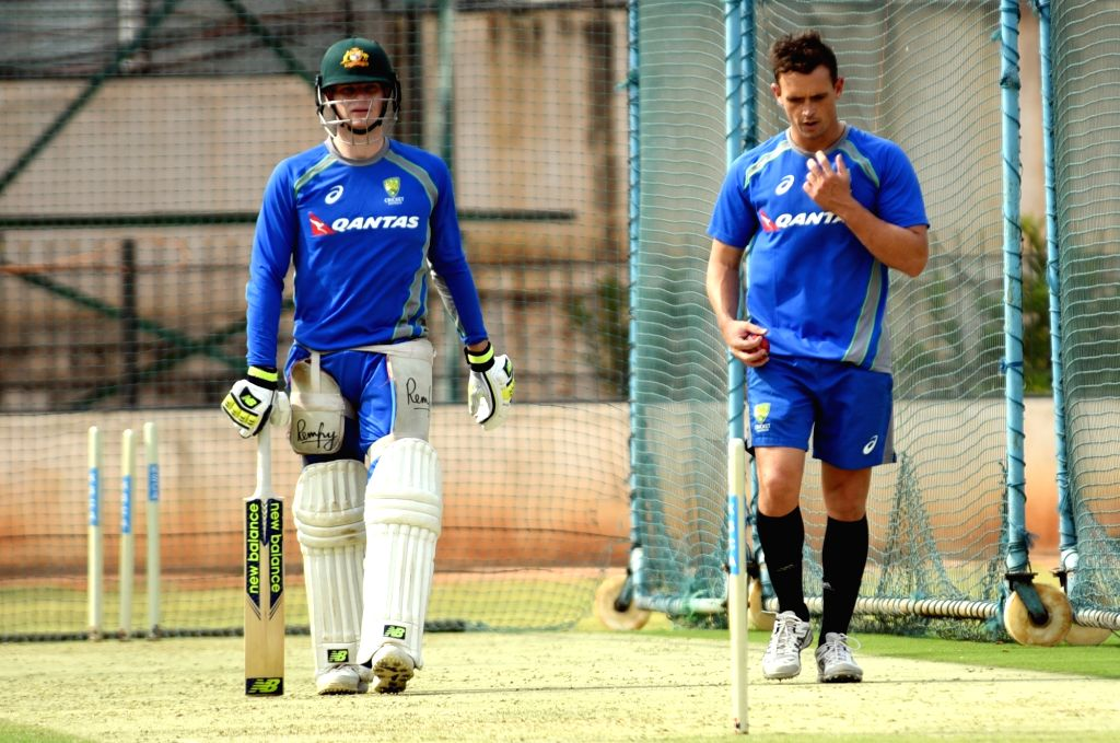 Australian captain Steve Smith in action during a practice session ahead of the second test match between India and Australia in Bengaluru on March 1, 2017. - Steve Smith