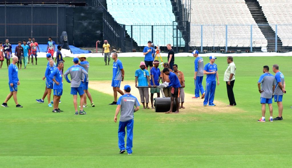 Australian cricket team during its visit to the Eden Gardens Cricket stadium ahead of the 2nd ODI match between India and Australia in Kolkata on Sep 20, 2017.