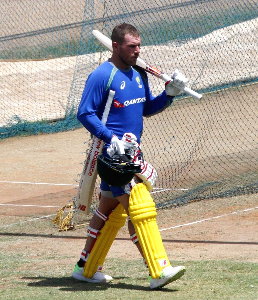 Australian cricketer Aaron Finch during a practise session at MA Chidambaram Stadium in Chennai on Sept 10, 2017.