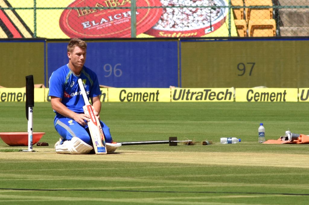 Australian cricketer David Warner during a practice session ahead of the second test match between India and Australia in Bengaluru on March 3, 2017.