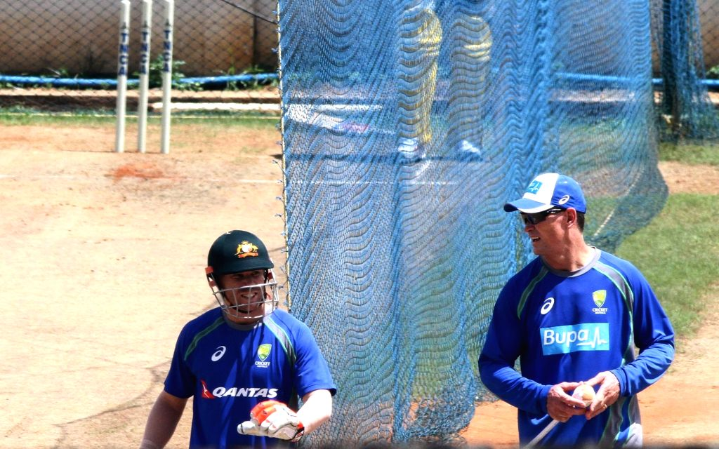 Australian cricketer David Warner during a practice session at MA Chidambaram Stadium in Chennai on Sept 11, 2017.