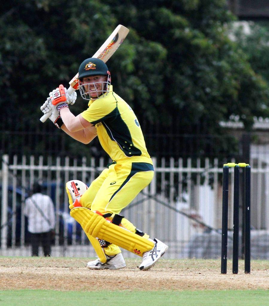 Australian cricketer David Warner in action during the Board President's XI vs Australia at MA Chidambaram Stadium in Chennai on Sept 12, 2017.