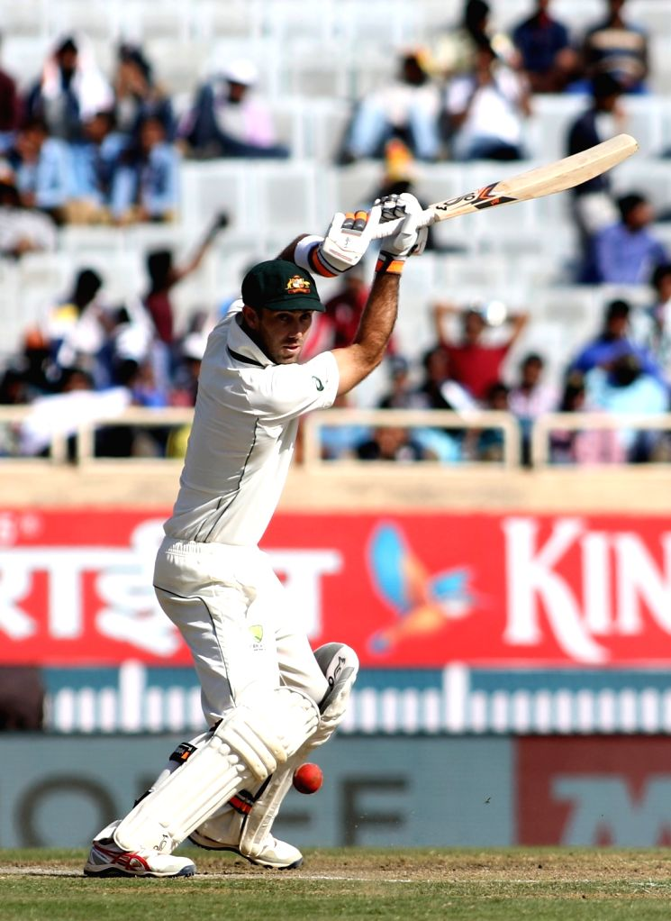 Australian cricketer Glenn Maxwell in action during the first day of the third cricket test match between India and Australia at the Jharkhand State Cricket Association (JSCA) Stadium complex ...