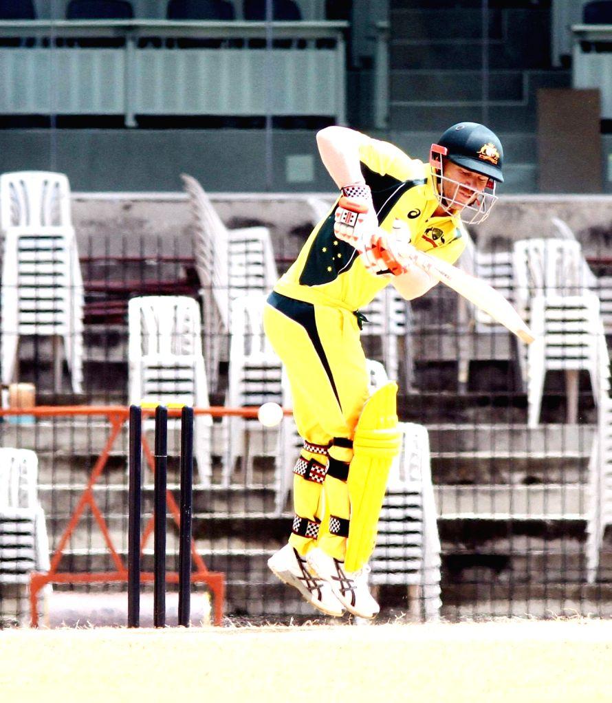 Australian cricketer Glenn Maxwell in action during the Board President's XI vs Australia at MA Chidambaram Stadium in Chennai on Sept 12, 2017.