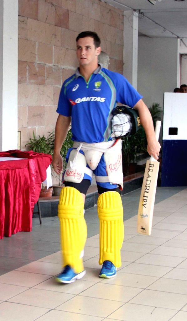 Australian cricketer Hilton Cartwright arrives at the Eden Gardens Cricket stadium in Kolkata on Sept 19, 2017.