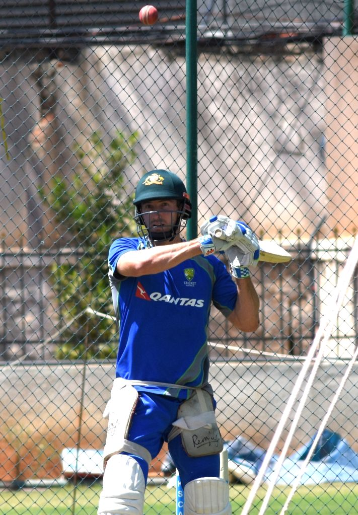 Australian cricketer Shaun Marsh during a practice session ahead of the second test match between India and Australia in Bengaluru on March 3, 2017.