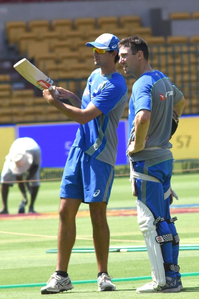 Australian cricketer Shaun Marsh (R) during a practice session ahead of the second test match between India and Australia in Bengaluru on March 3, 2017.