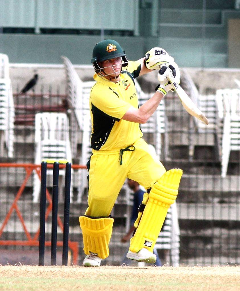Australian cricketer Steve Smith in action during the Board President's XI vs Australia at MA Chidambaram Stadium in Chennai on Sept 12, 2017.