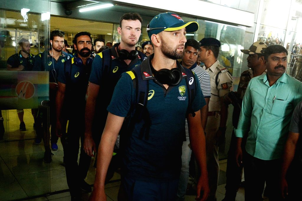 Australian cricketers arrive at Dr. Babasaheb Ambedkar Nagpur International Airport on March 3, 2019.