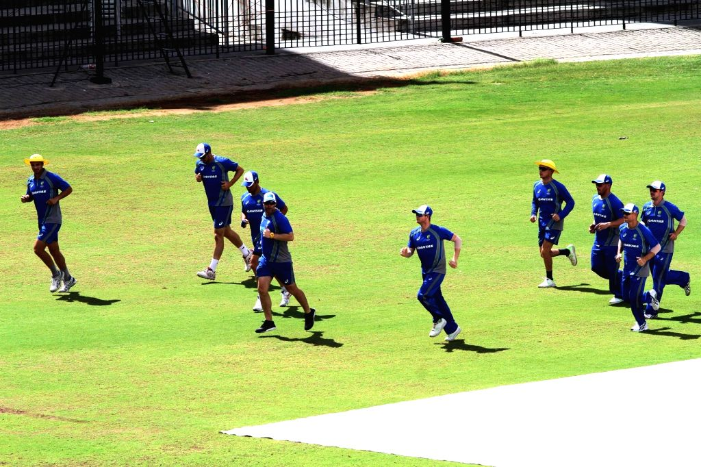 Australian cricketers during a practice session at MA Chidambaram Stadium in Chennai on Sept 11, 2017.