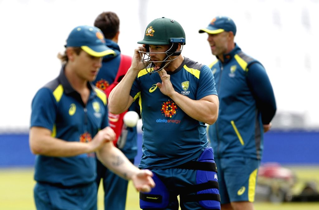 Australian cricketers during a practice session ahead of their 2019 ICC Cricket World Cup match against India, at the Oval in London on June 8, 2019.