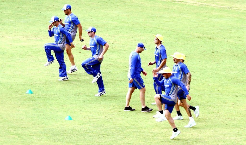 Australian cricketers during a practise session at MA Chidambaram Stadium in Chennai on Sept 10, 2017.