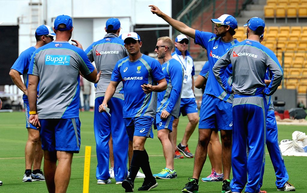 Australian cricketers in action during a practice session ahead of the second test match between India and Australia in Bengaluru on March 1, 2017.