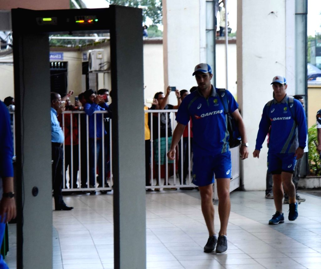 Australian cricketers Mark Waugh and Australian cricketer Aaron Finch arrive at the Eden Gardens Cricket stadium in Kolkata on Sept 19, 2017.