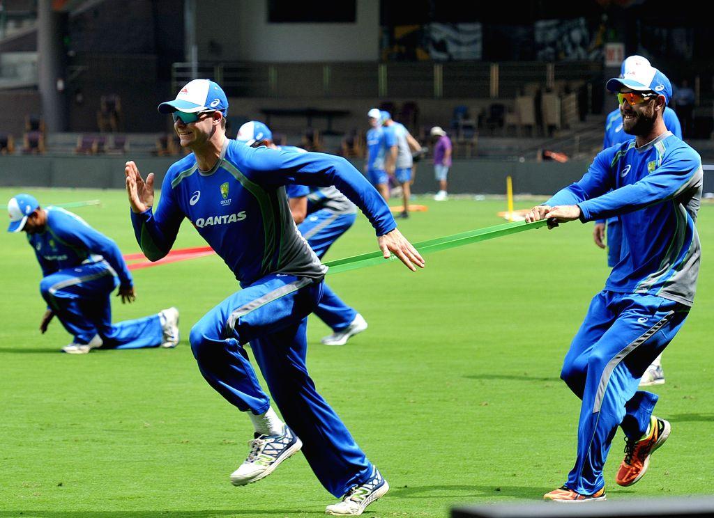 Australian cricketers Steve Smith and Glenn Maxwell . (File Photo: IANS)