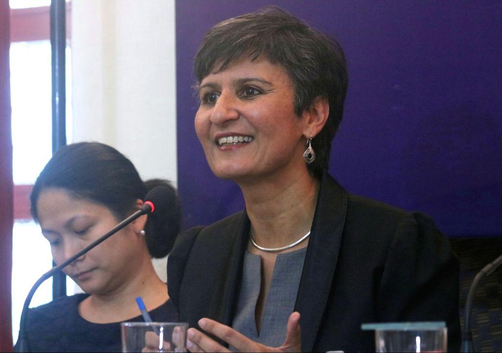 Australian High Commissioner Harinder Sandhu addresses a press conference in New Delhi on May 9, 2017.