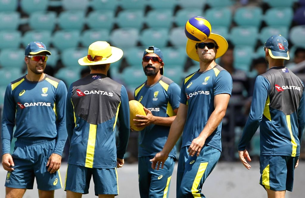 Australian players during a practice session ahead of the second ODI match against India, at Vidarbha Cricket Association (VCA) Stadium, in Nagpur, on March 4, 2019.