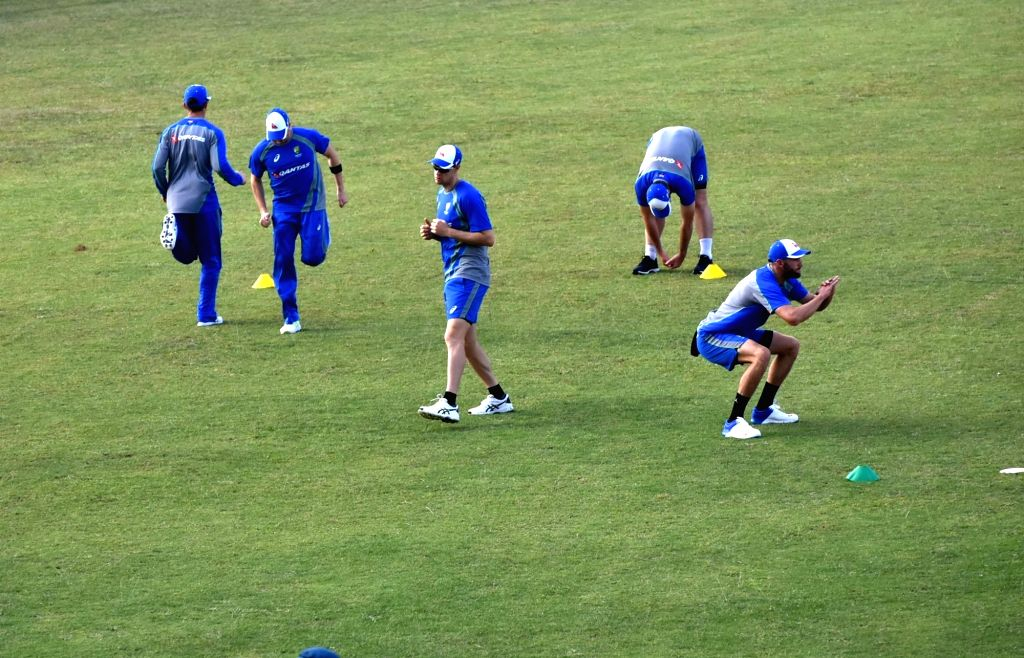 Australian players in action during a practice session ahead of T20 match against India at JSCA International Stadium in Ranchi on Oct 4, 2017.